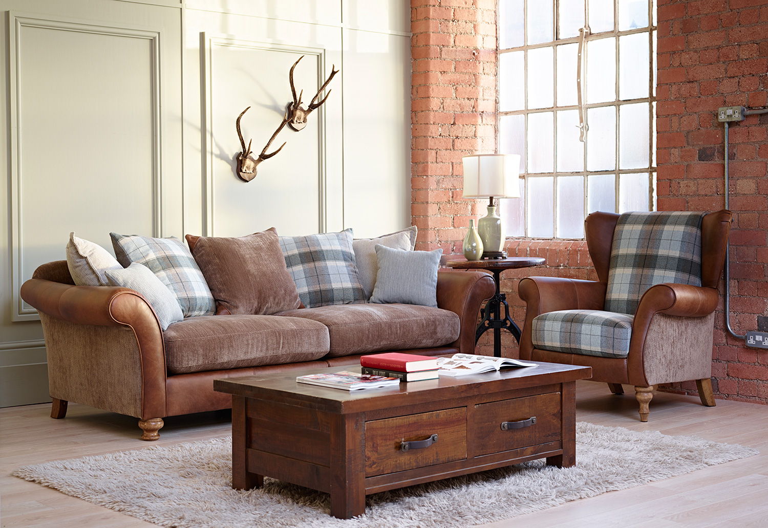 Checked Fabric Sofas Country Sofa Sets Foter TheSofa