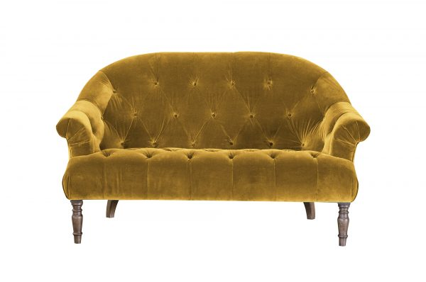 Imogen 2 Seater in Plush Turmeric Buttoned