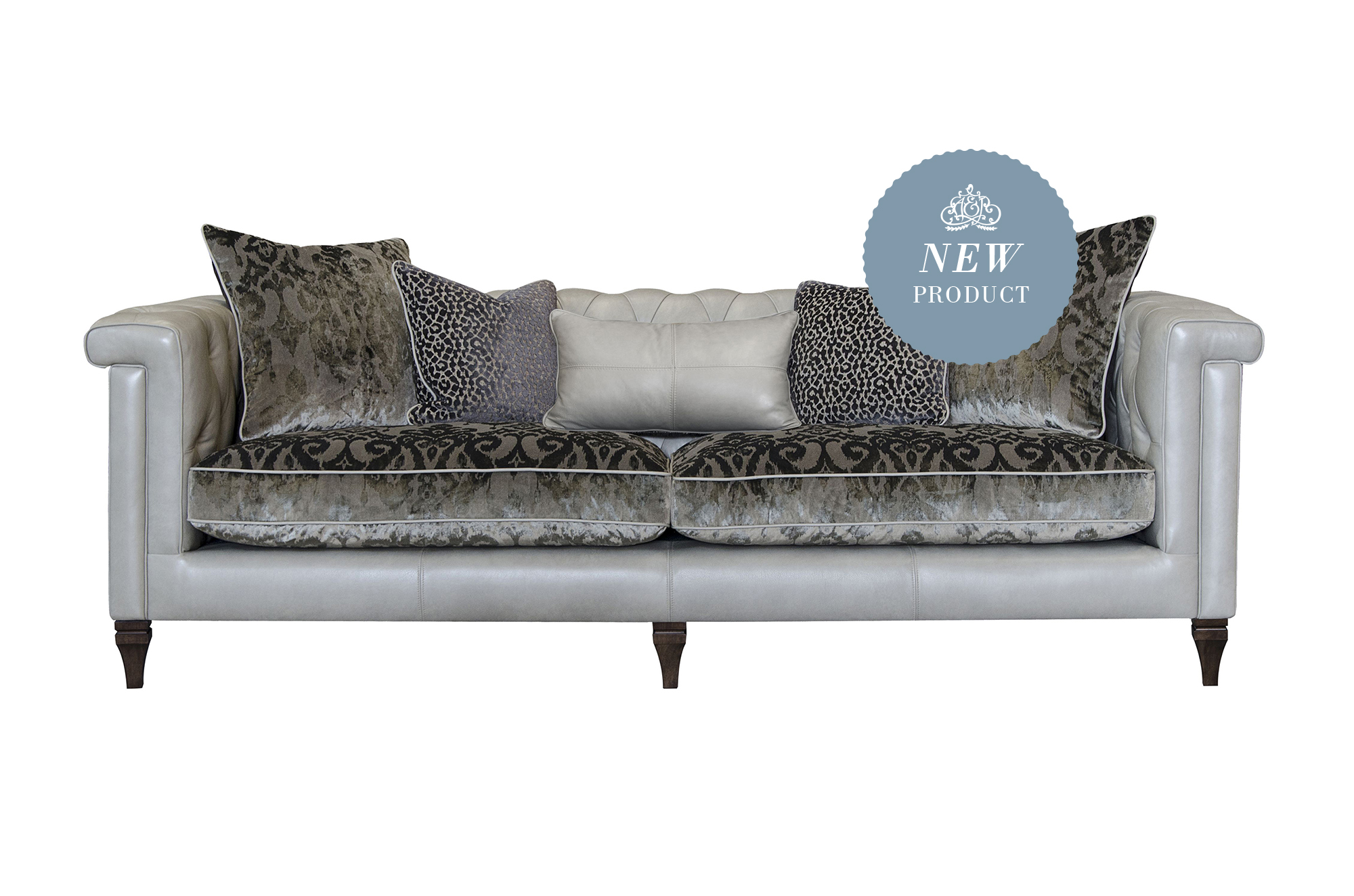Isabel Maxi Sofa Shown in Tote Storm Leather with Fabric Option 1