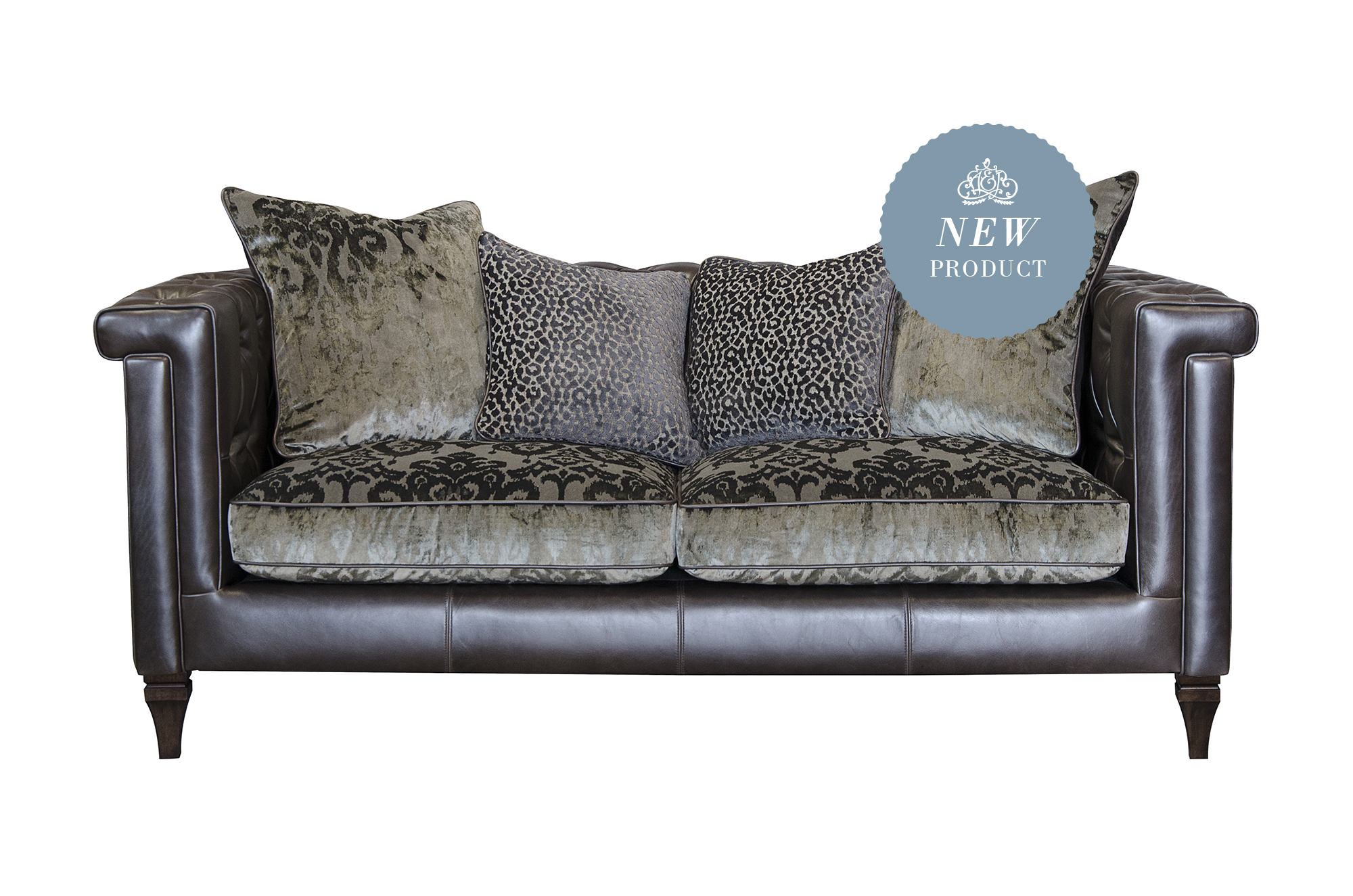 Isabel Midi Sofa Shown in Chinook Cocoa Leather with Fabric Option 1