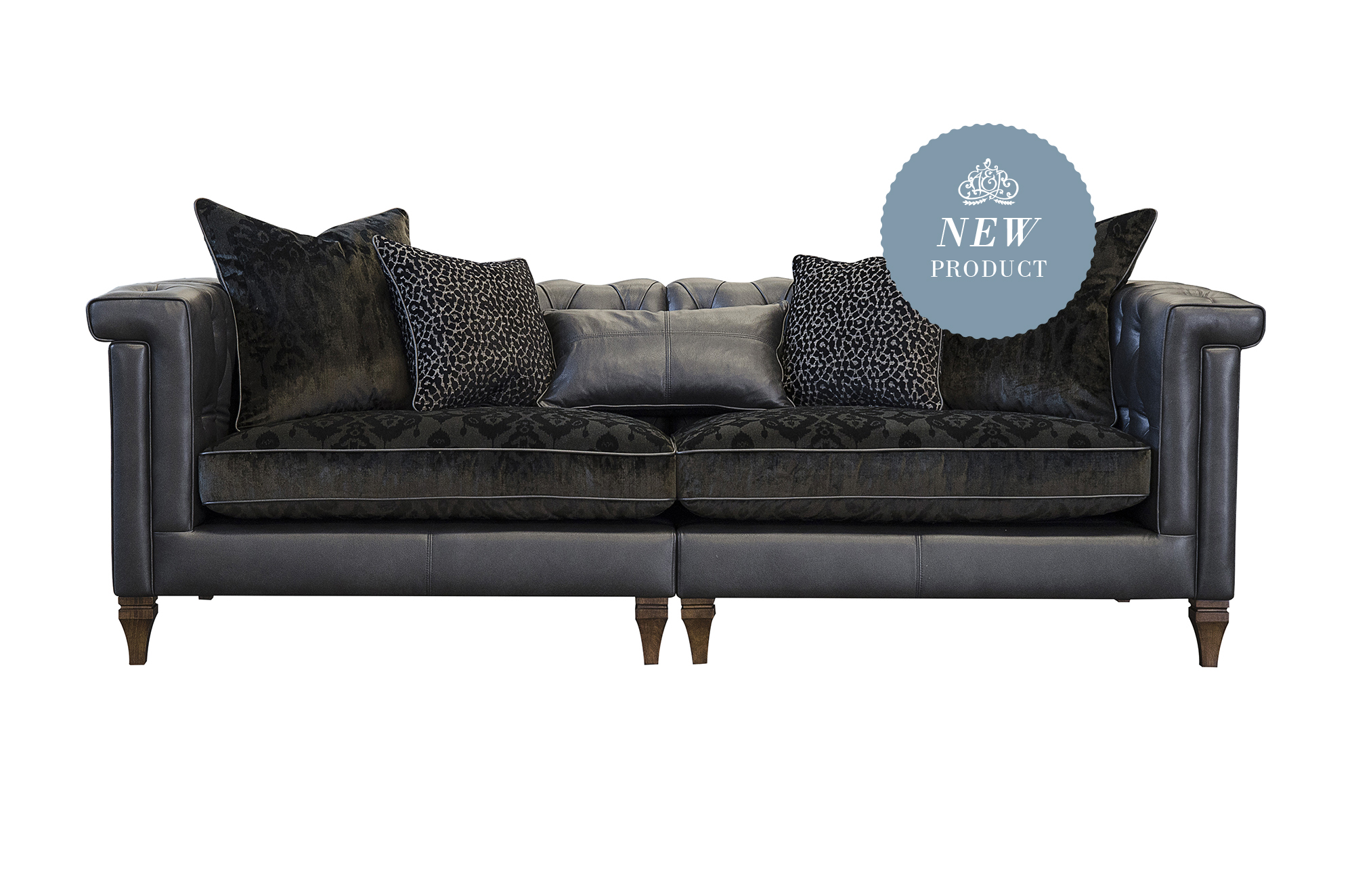 Isabel Maxi Split Sofa Shown in Tote Night Leather with Fabric Option 3